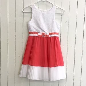 Emily West Girls White Lace Coral Pleated Dress